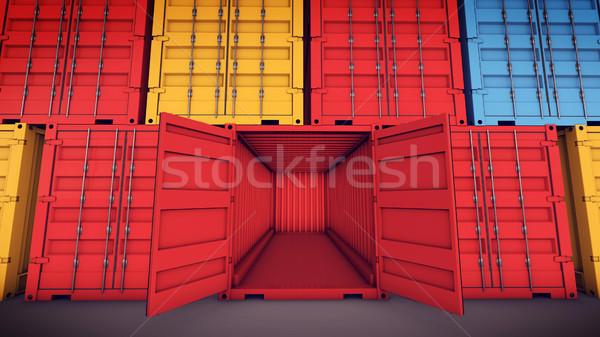 Otwarte ładunku pojemnik 3D drzwi Zdjęcia stock © klss