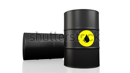 Óleo barril ilustração 3d preto isolado branco Foto stock © klss