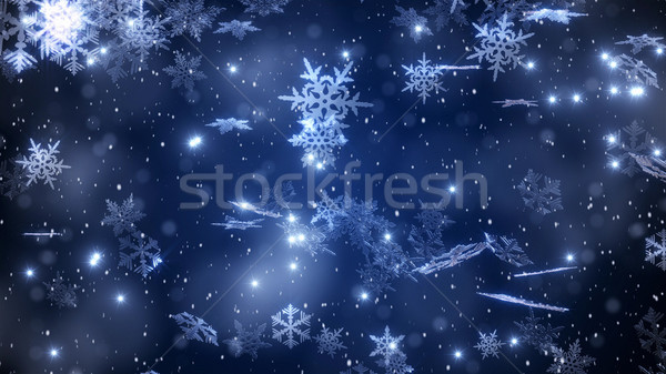 Christmas background with a falling snowflakes and a brilliant snow Stock photo © klss