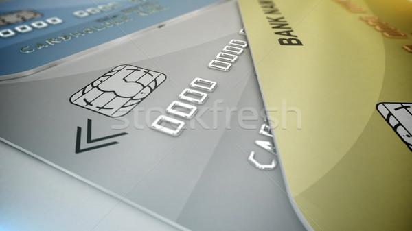 Winkelen 3D creditcards witte geld Stockfoto © klss