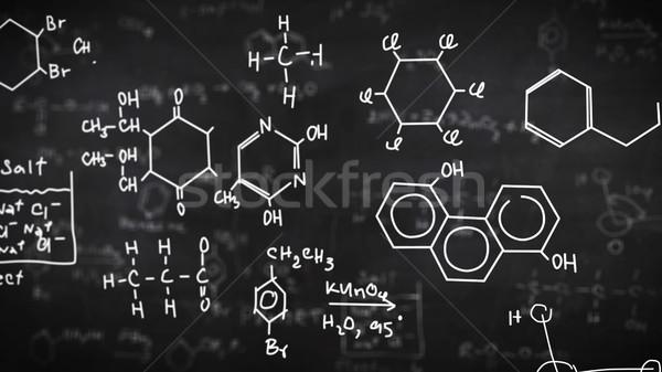 Chemische formules zwarte wetenschap papier textuur Stockfoto © klss