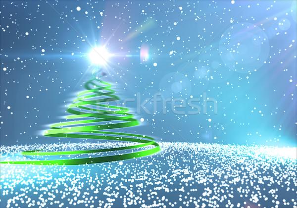 Kerstboom gelukkig sneeuw groene winter achtergronden Stockfoto © klss