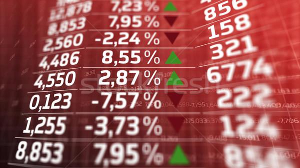 Mercato azionario dati display bianco numeri rosso Foto d'archivio © klss