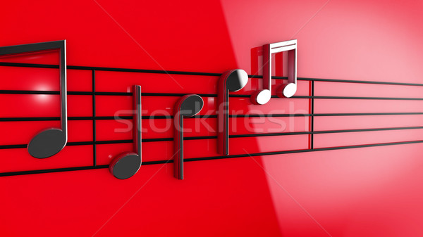 Music notes on staves Stock photo © klss