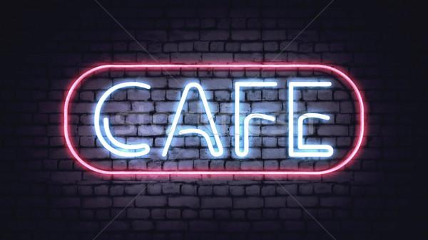 неоновых кафе знак белый кирпичная стена иллюстрация Сток-фото © klss