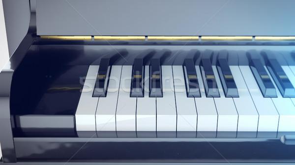 Mooie vleugelpiano sleutels spiegel 3D Stockfoto © klss