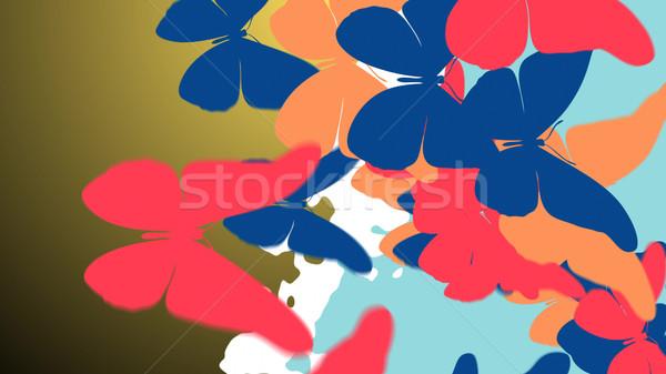 Stok fotoğraf: Renkli · kelebek · 3d · illustration · soyut · moda · dizayn