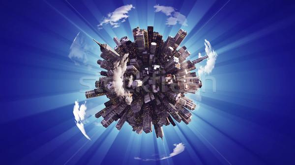 ビッグ 市 小 惑星 3D レンダリング ストックフォト © klss