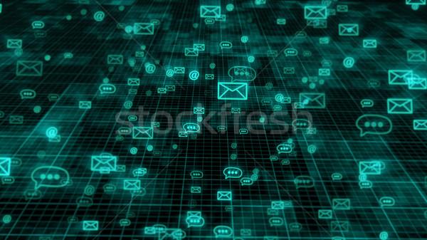 Stock fotó: Internet · üzenet · technológia · 3d · illusztráció · sötét · háttér