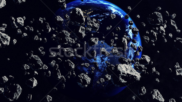 Thousands of asteroids Closing to the Earth Planet Stock photo © klss