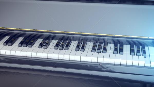 Blanc noir touches piano 3D côté Photo stock © klss