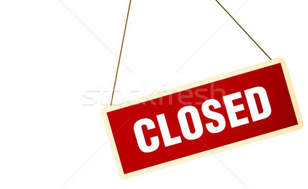 Zamknięte podpisania vintage biały drzwi ramki Zdjęcia stock © klss