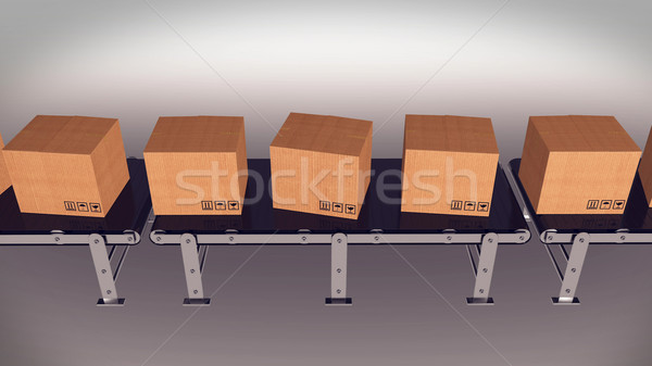 倉庫 3dのレンダリング ベルト パッケージ ビジネス ストックフォト © klss
