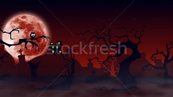 Bat silhouettes with a moonlight behind - Halloween background Stock photo © klss