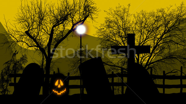 A pumpkin light on a graveyard Stock photo © klss