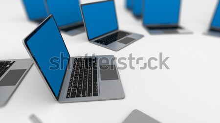 3d image of a lot of laptops in a rows. Stock photo © klss