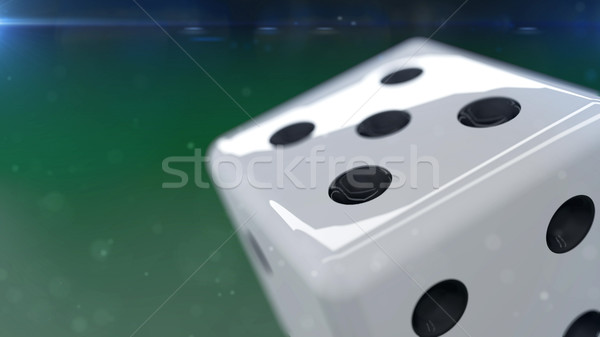 White dice isolated on a green background Stock photo © klss
