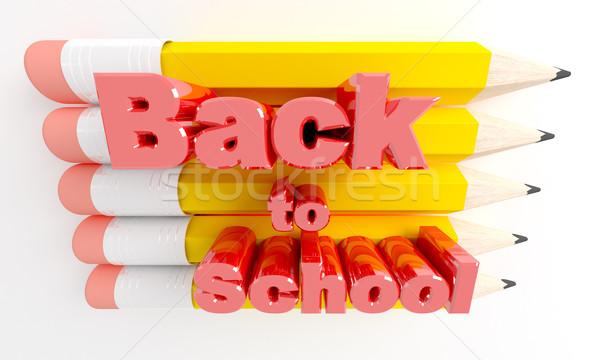 Kalemler okula geri 3d render çocuklar okul kalem Stok fotoğraf © klss