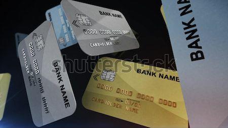 Kleur creditcards lucht zwarte 3D Stockfoto © klss