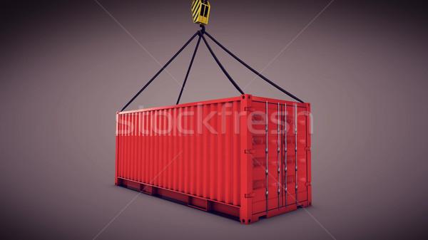 Kırmızı kargo konteyner kanca 3D Stok fotoğraf © klss