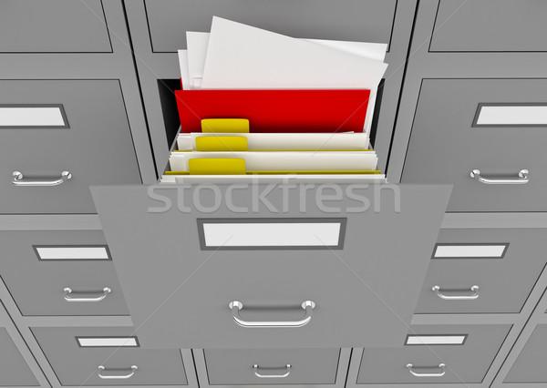 файла открытых выдвижной ящик 3d иллюстрации информации Сток-фото © klss