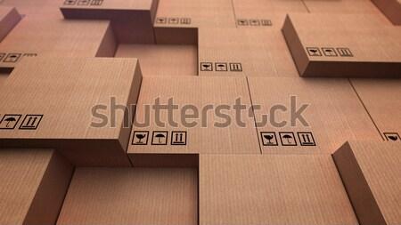Karton kutuları bo 3D kâğıt Stok fotoğraf © klss