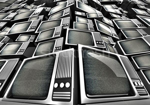 3D render of Vintage television pile. Stock photo © klss
