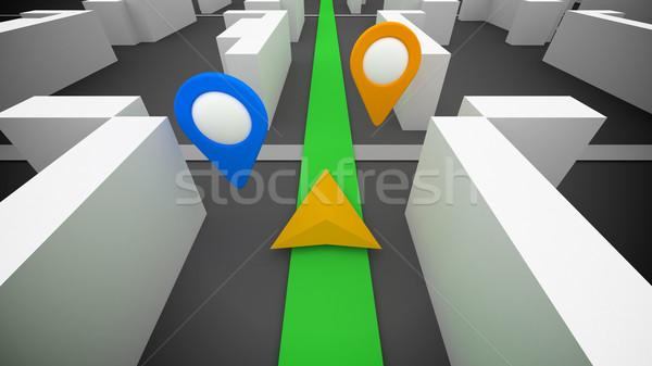 3D のGPS  ナビゲーション 単純な 建物 地図 ストックフォト © klss