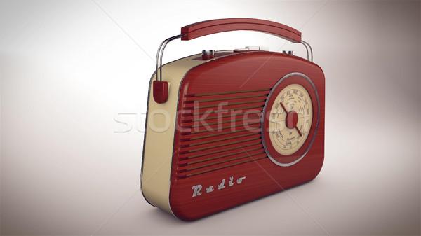 Foto stock: 3D · rádio · vermelho · perspectiva · ver