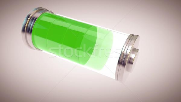 Vert batterie blanche maison fond métal Photo stock © klss