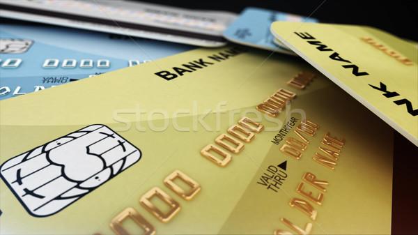 Goud creditcard veld 3D geld Stockfoto © klss