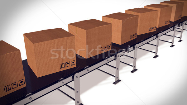 Shipping Boxes On A Conveyor Belt/ Shipping Merchandise. Stock photo © klss