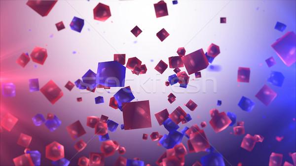 Absztrakt piros kék kockák levegő 3d illusztráció Stock fotó © klss