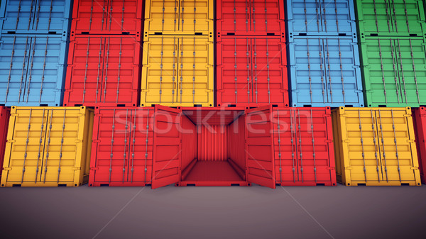 Open vracht container 3D Stockfoto © klss