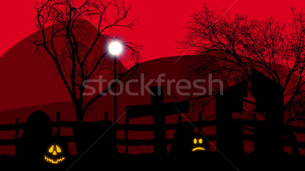 Halloween concept graveyard with pumpkins on red Stock photo © klss