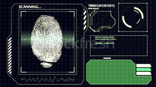 Scanning human fingerprint. Interface HUD. Technology background.  Stock photo © klss