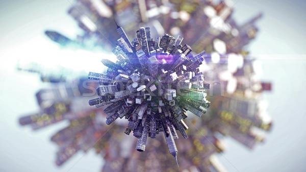 Duży miasta mały planety 3D Zdjęcia stock © klss