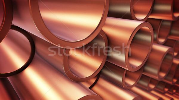 Cobre tuberías 3D almacén Foto stock © klss