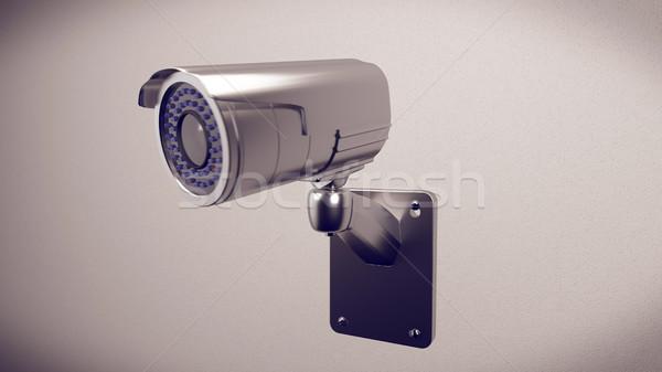 Bezpieczeństwa cctv kamery budynku 3D Zdjęcia stock © klss