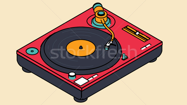 Vinyl speler schijf cartoon stijl 3d illustration Stockfoto © klss