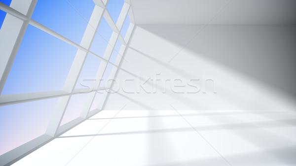 Biały pokój okno Błękitne niebo domu ściany Zdjęcia stock © klss