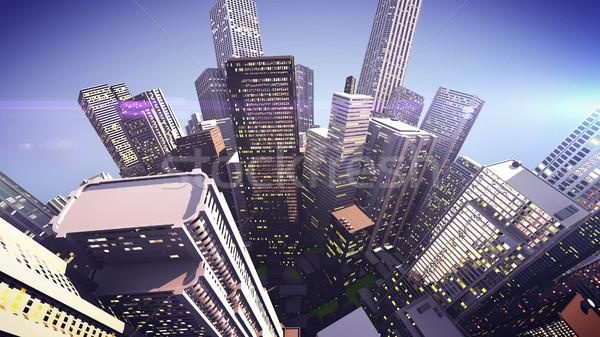 Arranha-céus globo cidade 3D escritório Foto stock © klss