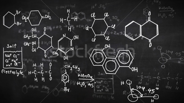 Chemical formulas on black Stock photo © klss