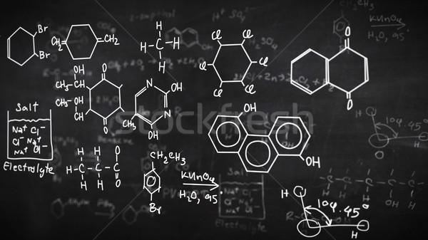 Chemische formules zwarte geschreven schoolbord papier Stockfoto © klss