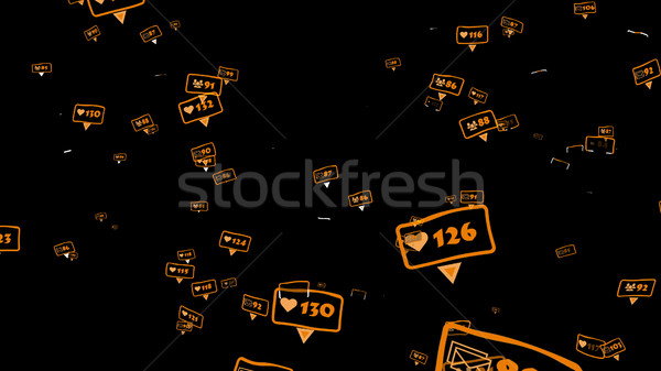 Orange icons of social media notifications  Stock photo © klss