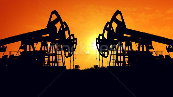 Pétrolières pomper plate-forme pétrolière énergie industrielle machine Photo stock © klss