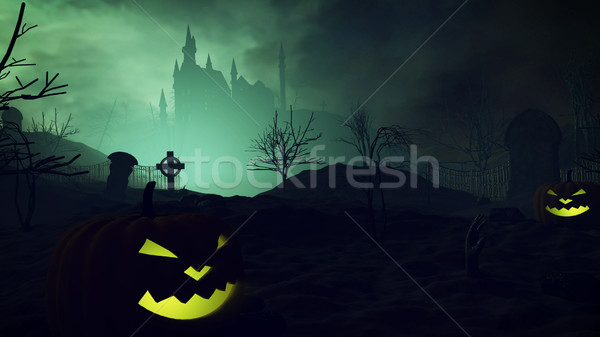 Halloween pumpkins and dark castle on a Graveyard. Stock photo © klss