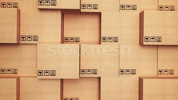 Karton dozen 3D vak winkel Stockfoto © klss
