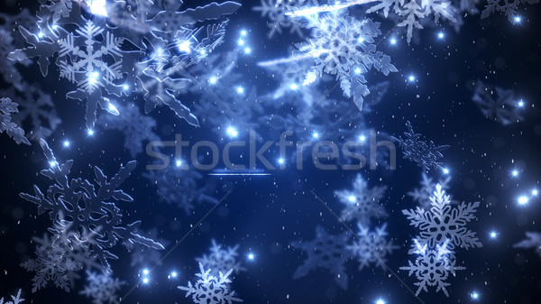 Snowfall with a  falling fluffy snowflakes   Stock photo © klss