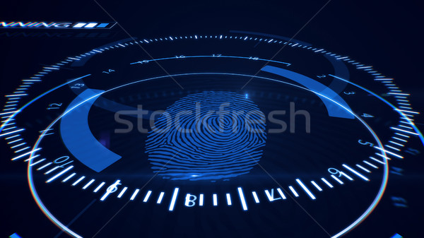 Abstract Fingerprint Scanning.Technology Concept. Blue color. Stock photo © klss
